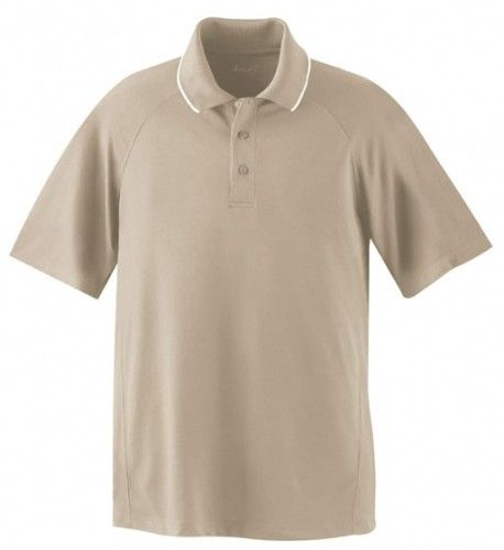 Big Mens Performance Raglan Short Sleeve Polo Shirt - Premium Collection - 2XL (2X) ( Biscuit )