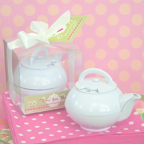 Mini White Teapot Timer by Beau-coup: Party Favors, Weddings Favors, Teapots Timer, Bridal Showers Favors, Kitchens Timer, Teas Party, Teas Pot, White Teapots, Timer Favors