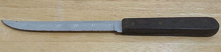 Carbon KA-BAR Chrome Fixed Blade Knife Kitchen Fillet Carving Kabar Wood Handle #KaBar