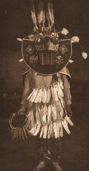 Masked Dancer - Cowichan (The North American Indian, v. IX. Norwood, MA: The Plimpton Press, 1913) by Edward Sheriff Curtis from USC Libraries