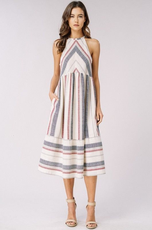 a5a4ecffade6 Listicle striped woven midi sleeveless casual summer day booh dress S M L   listicle  FitFlareDress  AnyOccasion