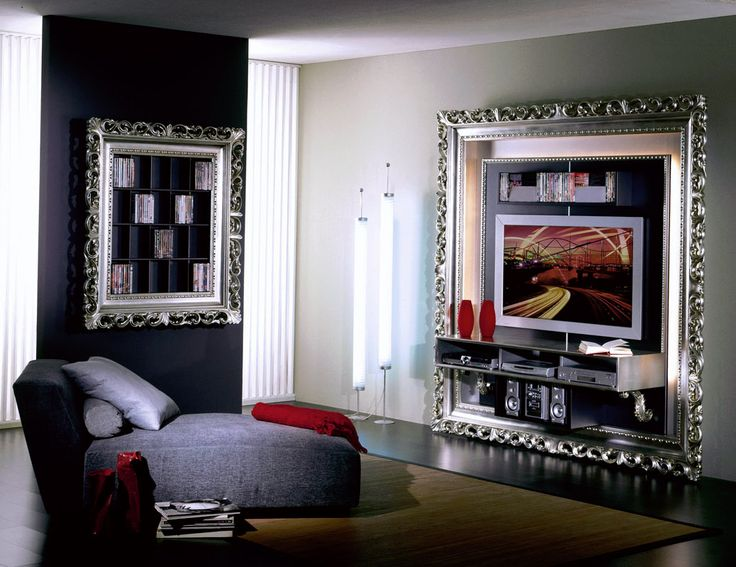 , porta lcd, porta tv led, barocco argento foglia e porta DVD ...