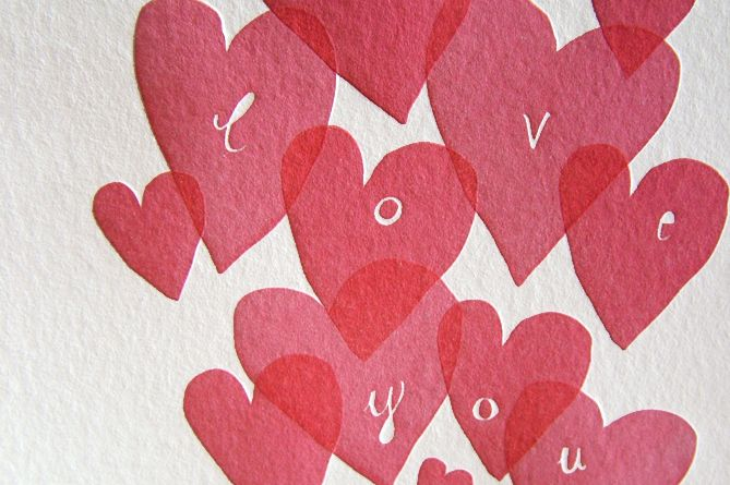 close up of one of two of our hand pressed letterpress hearts cards. You can buy online here http://shop.kikisoso.de/category/love-cards  subscribe to the KIKISOSO newsletter for updates on new products and competitions etc. www.kikisoso.de/newsletter