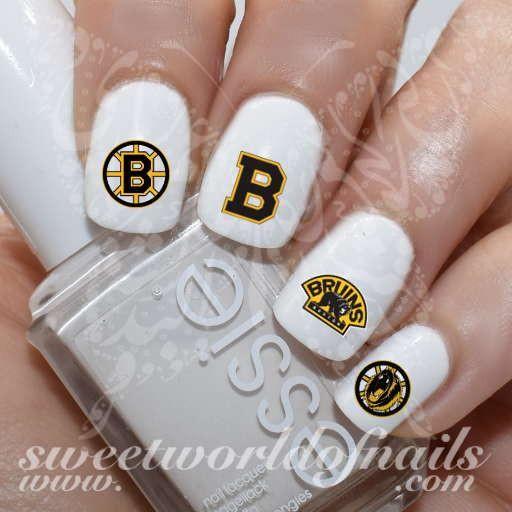 Boston Bruins Nail Art NHL Nails Ice hockey team Nail Water Decals Wraps