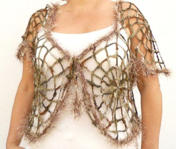 Crochet encaje Bolero Halloween talla grande ropa de Crochet