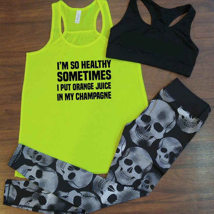Funny workout outfit from Constantly Varied Gear.  Funny gym tank and skull leggings.
