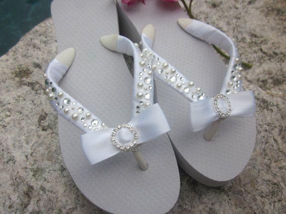 Wedding Shoes for Bride. Bridal Flip flop/Wedges by RocktheFlops, $39.00