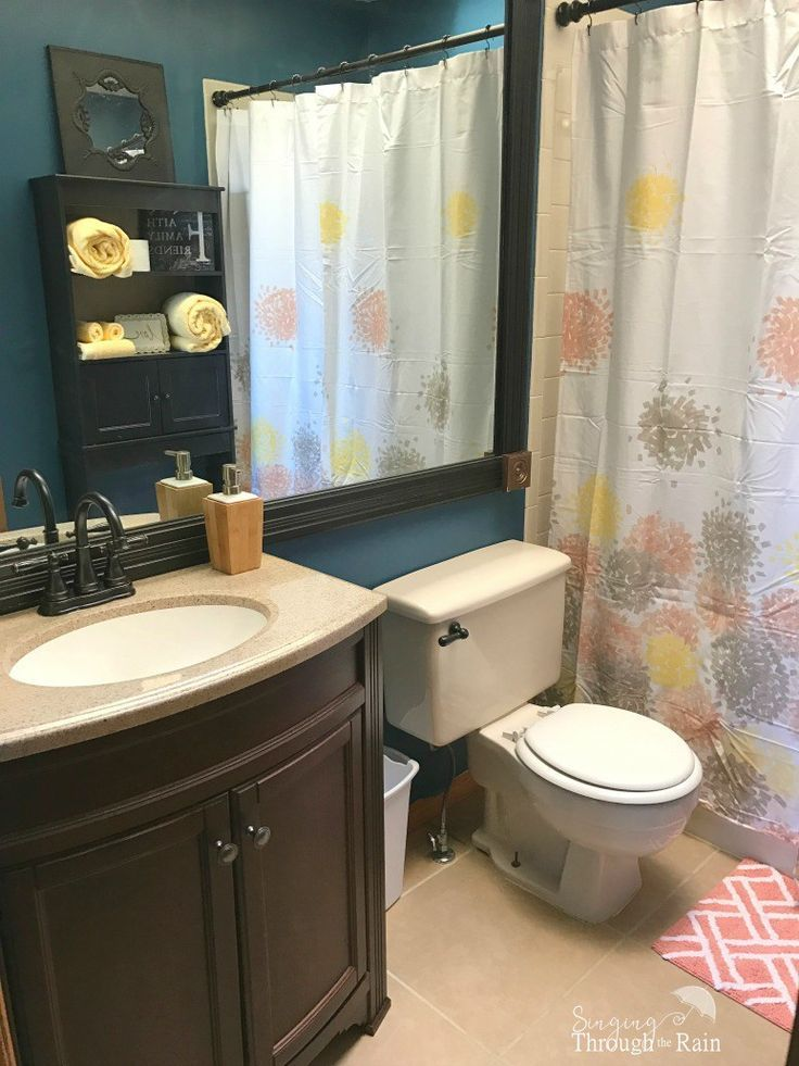 245 best home decor images on pinterest for Small bathroom yellow