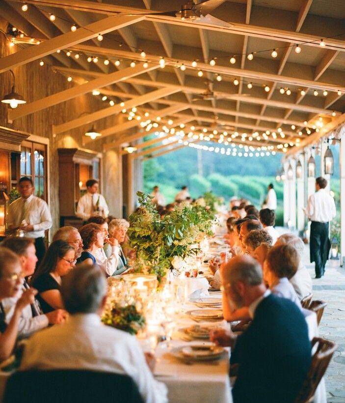 wedding reception venues woodstock ga%0A Dinner on the veranda  outdoor receptions  summer  string lights  Pippin  Hill
