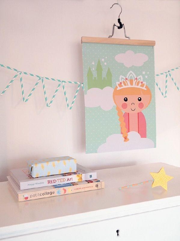 Kinderkamerposter prinses A3 poster kinderkamer babykamer sprookjes