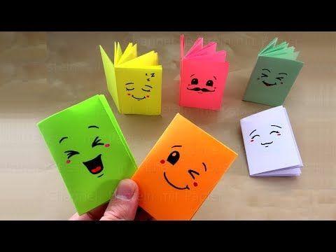 Libricino fai da te - DIY Libricino per piccoli messaggi. Oggetti per la Scuola facili. Origami. - YouTube