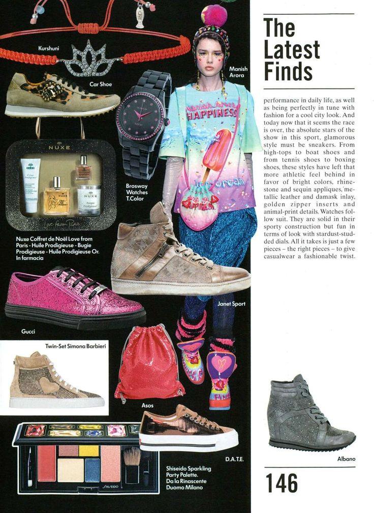 Albano present on vogue magazine accessories silver Sneakers with Swarovski