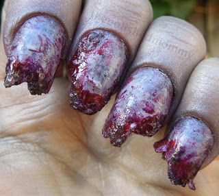 Totally disgusting, yet awesome, zombie nails for Halloween!