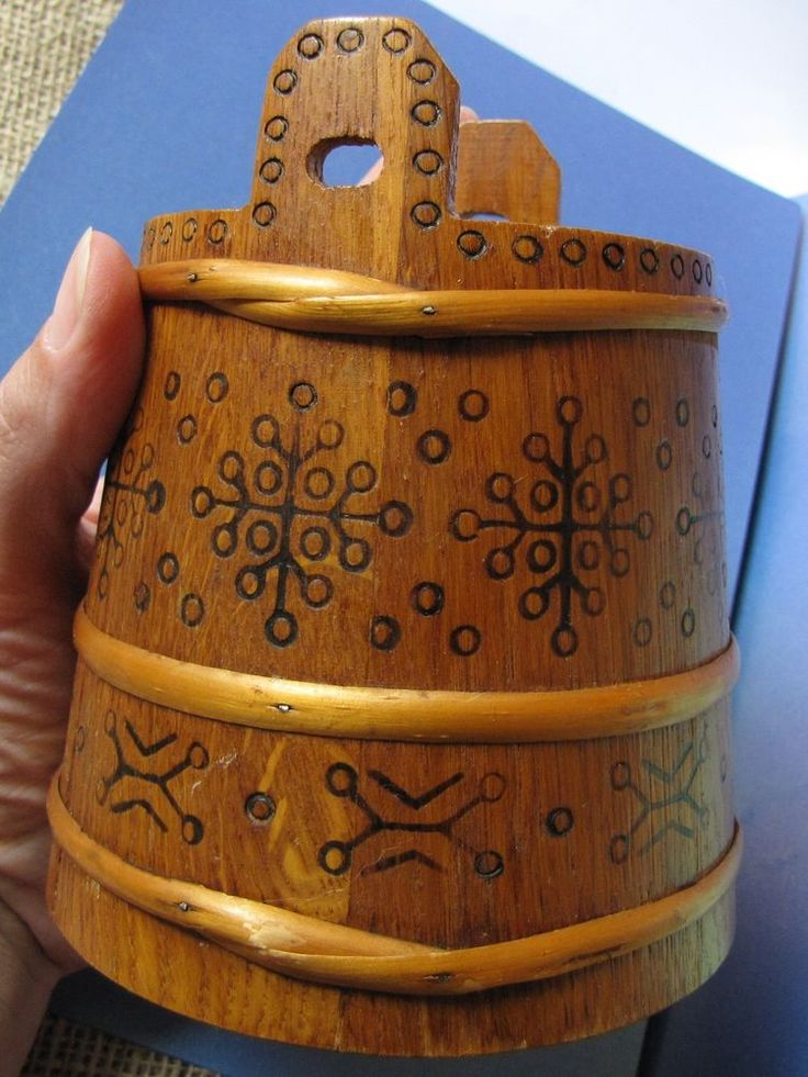 Old Soviet Latvia USSR Wood TUB PAIL Crock Vat Folk Ethnic Ornament handmade