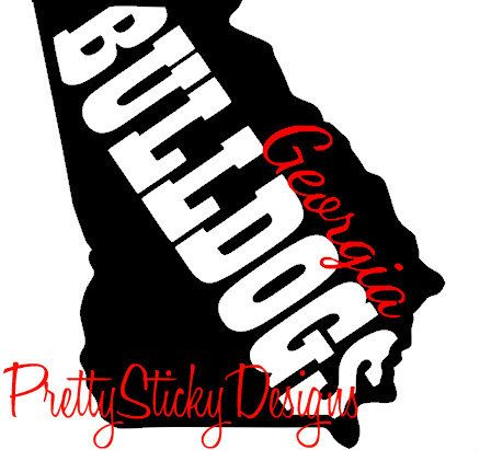 Georgia bulldogs state pride sticker car decal by prettystickydesigns on etsy