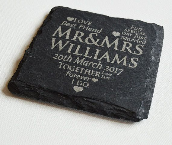Personalised Engraved Slate Coasters by FlolliePopDesigns on Etsy