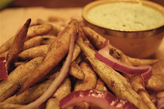 Masala crusted whitebait with raitha recipe