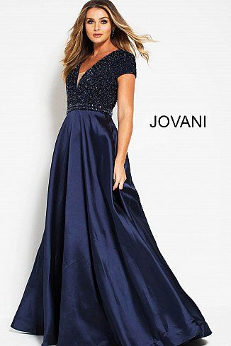 16a31548fa Navy Embellished Bodice Open Back Evening Gown 51546