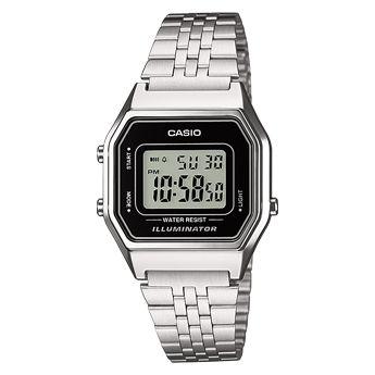Casio LA680WEA-1EF. Luz LED. Cronómetro - 1/100 seg. - 1 hora. Alarma diaria. Calendario automático. Indicación de hora normal de 12/24 horas. Caja de resina. Correa de acero inoxidable. Cierre ajustable. 5 años - 1 pila.