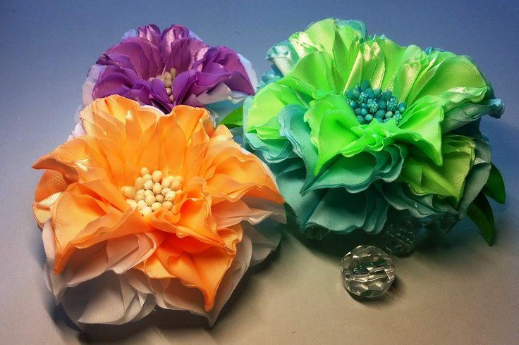 Ribbon flowers:quick dahlia/Flores de las cintas:dalia rápidamente/Цветы...
