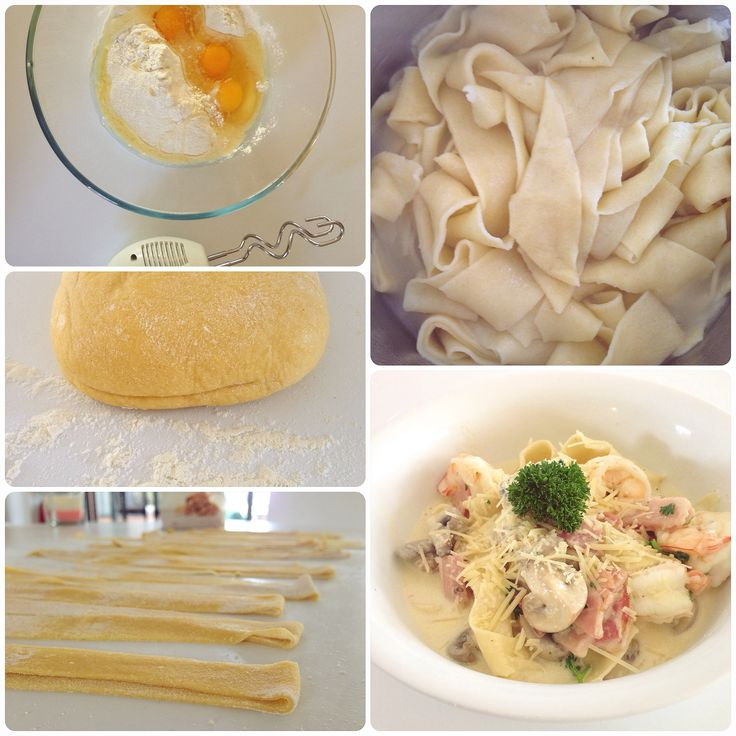 Our Home made Papadelle Egg Pasta and Creamy Carbonara Sauce.. Ingredients - #organic #speltFlour #eggs #oliveoil #salt #pepper #Creme #garlic #bacon #mushroom #cheese #parsley #prawns #butter #homeMadeFromScratch! #foodgasm