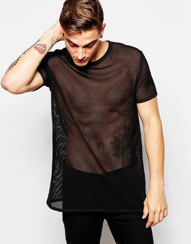 Image 1 ofASOS Longline T-Shirt With Mesh In Relaxed Skater Fit