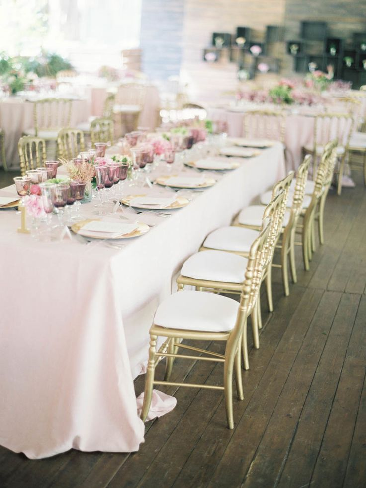 Blush and gold wedding reception