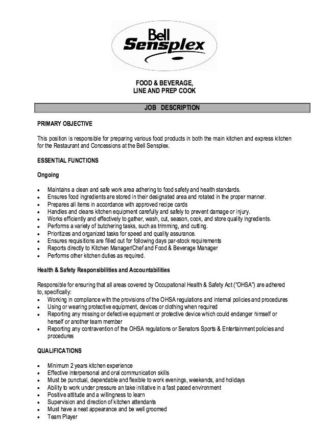 Educational Assistant Resume Samples Laynie Foskett 1052 Seminole - prep cook job description