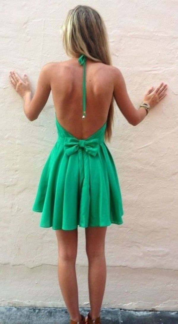 Dress: clothes green summer green halter backless summer cute  with bow