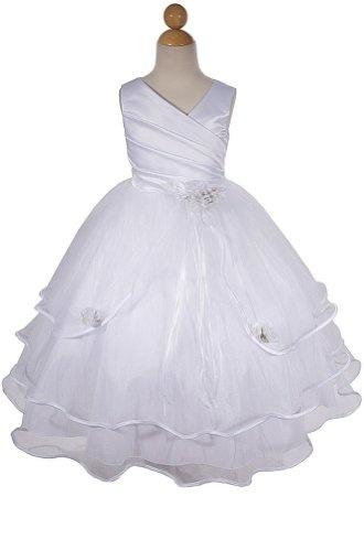 Amazon.com: AMJ Dresses Inc Girls White Flower Girl Communion Dress Sizes 2 to 16: Clothing