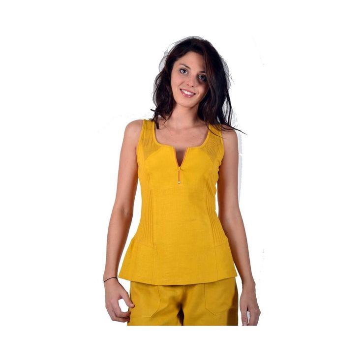 Débardeur jaune Maloka en Lin et coton - Austin - Mode-lin.com