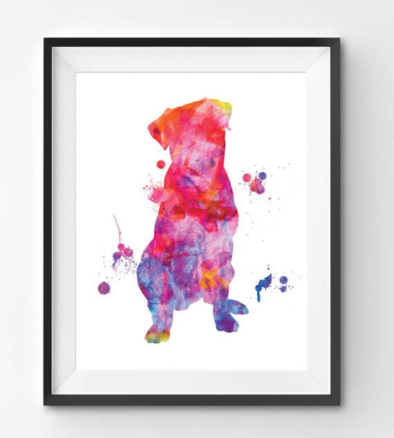 Colorful Rottweiler Watercolor Print Dog Print Dog Digital
