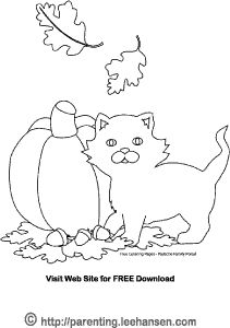 cat and pumpkin coloring pages - photo#19