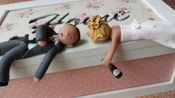 Drunk Bride & Groom Wedding Cake Topper - Personalised- Outfits-Hair-Made to look like you..intoxicated! * FREE SHIPPING*