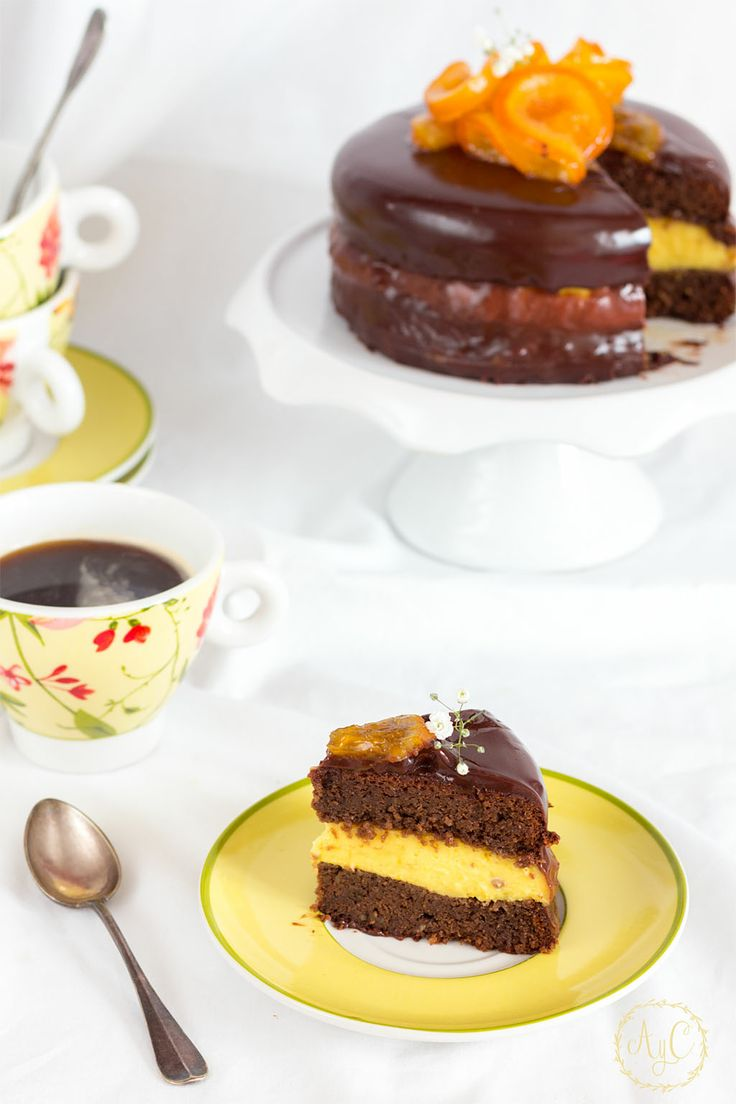 Tarta de chocolate y crema de naranja