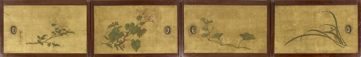 5498 5498 Four paper and silk fusuma (sliding doors)...