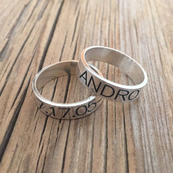 Men's Ring - Men's Personalized Ring - Engraved Men's Ring - Personalized Men - Personalized For Men - Men's Jewelry - Men's Ring - Husband  Beautiful sterling silver ring, You can engrave on it initials, names, dates, symbols, roman characters ... $65