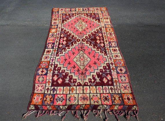 12 X 6 Feet Boujad Vintage Moroccan Rug Rag Wool Boujad Carpet Tapis Boujad Vintage Moroccan Rugs Moroccan Rug Vintage Moroccan
