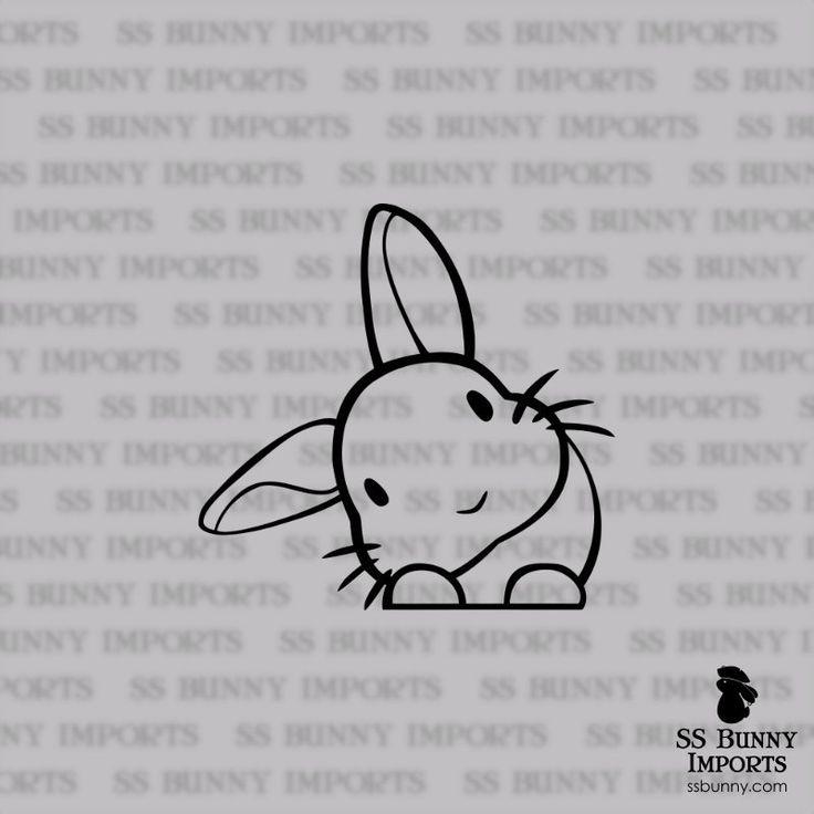 Spähen des Kopfneigungshäschen-Abziehbildaufklebers; Kaninchen Auto Aufkleber / Laptop Aufkleber / Telefon Vinyl Aufkleber, schwarz glänzend  – 动物