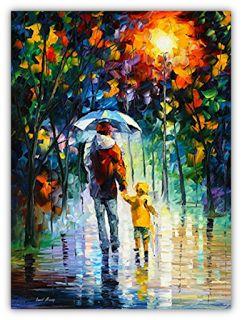 Caminata lluviosa con Papi de Leonid Afremov - 2017.    Es la portada de la Oración para mi Papá.