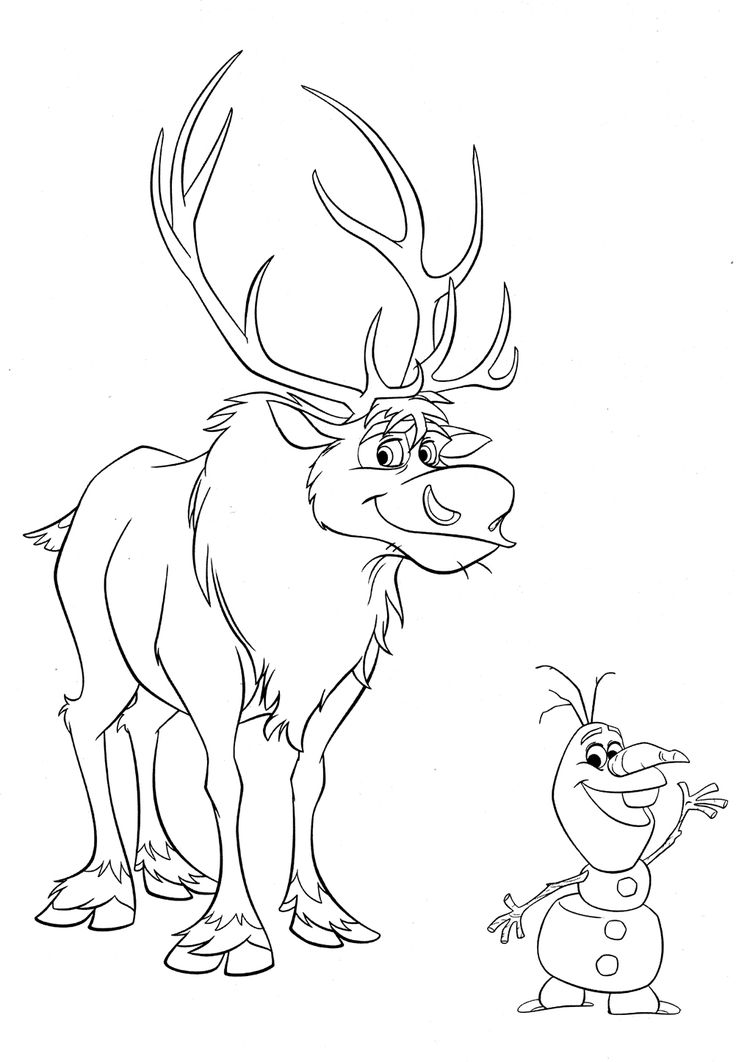 Coloriages la reine des neiges à imprimer : Sven et Olaf