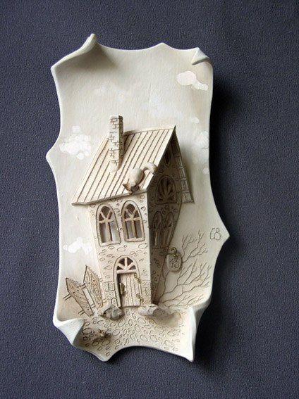 "настенная картина материал: керамика (фаянс) ""домик"""
