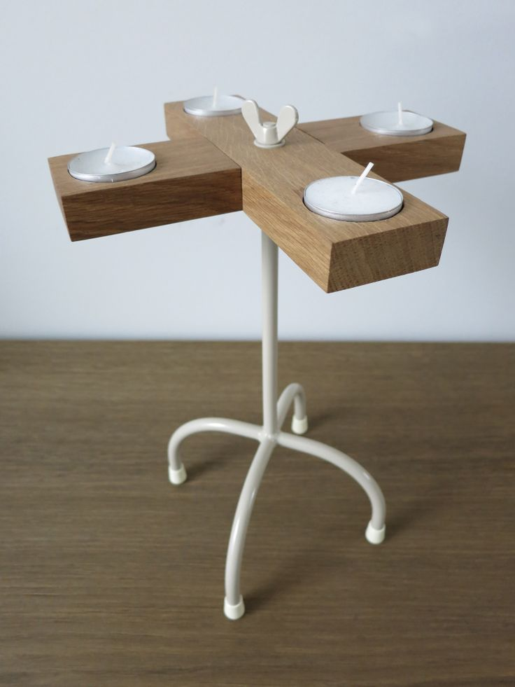 cross | TOM FRENCKEN | candleholder made of steel and French oak.