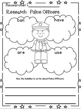 "Community Helpers ""Research"" Unit w/ Literacy+Math~Freebie in the download preview!!!!"