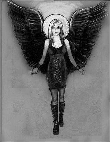 One tree hill peytons drawing of the dark angel (: