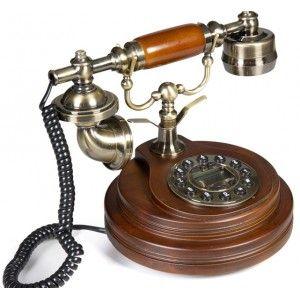 Telefono antiguo con pulsador y pantalla