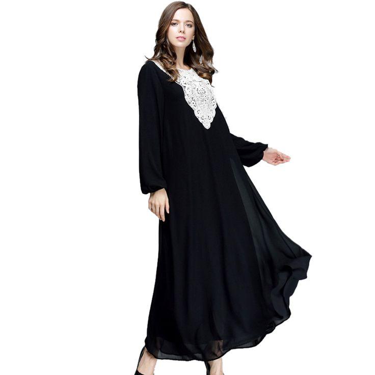 Cheap Mujeres largo vestido musulmán islámico musulmán del cordón de la gasa Kaftan Abaya señora de la manga larga Maxi Dress Retro, Compro Calidad Vestidos directamente de los surtidores de China:                      Cordón de la gasa de las mujeres vestido largo musulmán islámico musulmán caftán abaya de manga lar