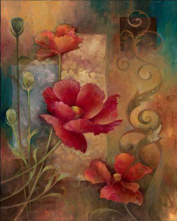 Flores rojas (arte decorativo) Láminas en AllPosters.es