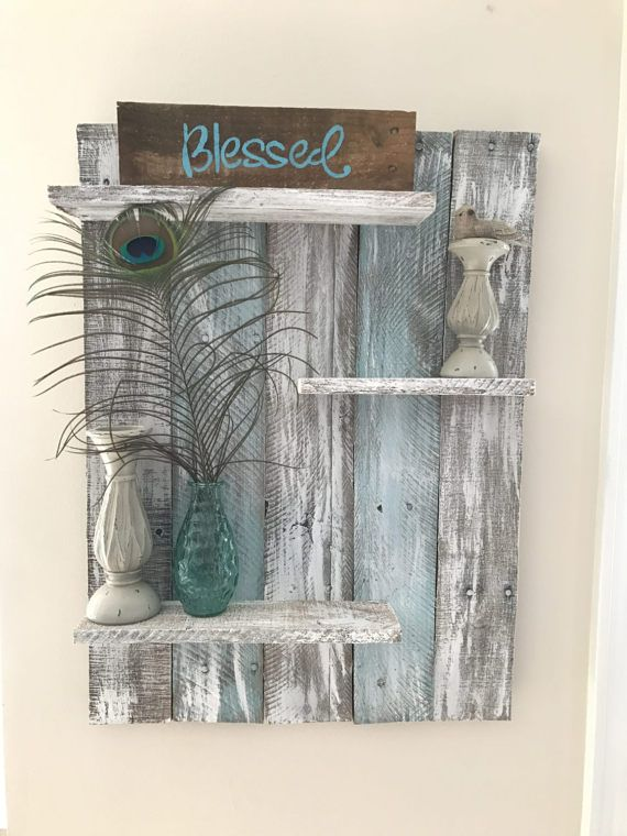 Pallet wall shelf, rustic decor, teal shelf, teal wood shelf, wall shelf, pallet wall shelves, home decor, bedroom decor, bathroom decor
