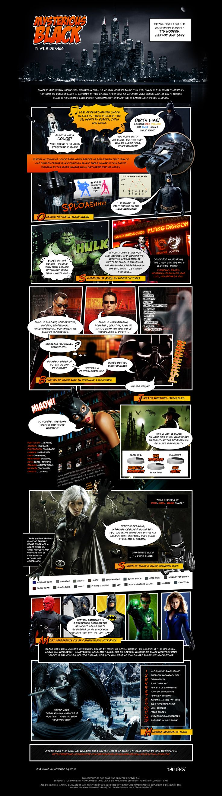 Black in #Web Design [Comic Style Interactive #Infographic]